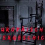 Europäische Geistergeschichten steht mit roter Schrift auf einem dunklen Hintergrund. In diesem sind Schatten und ein Stuhl zu erkennen.