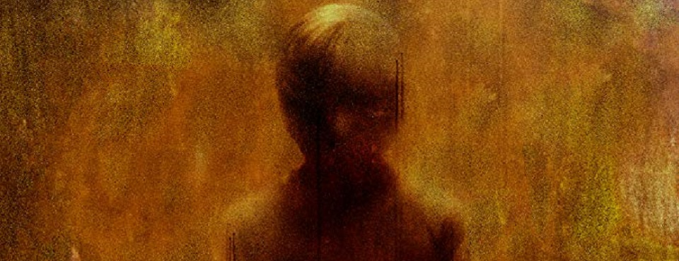 Die Silhouette eines Jungen in Gelb