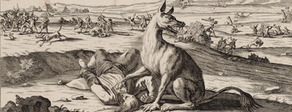Eine hundeartige Bestie drückt einen Mann zu Boden.