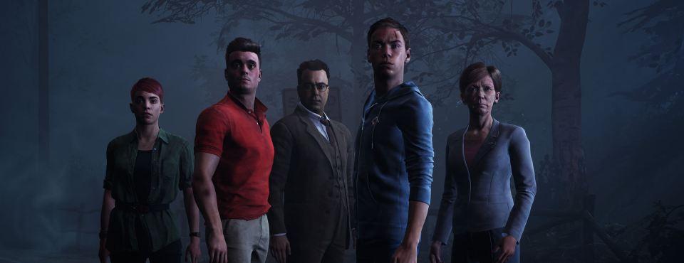 Eine Gruppe von fünf Personen, die skeptisch oder ängstlich Richtung Kamera schauen.